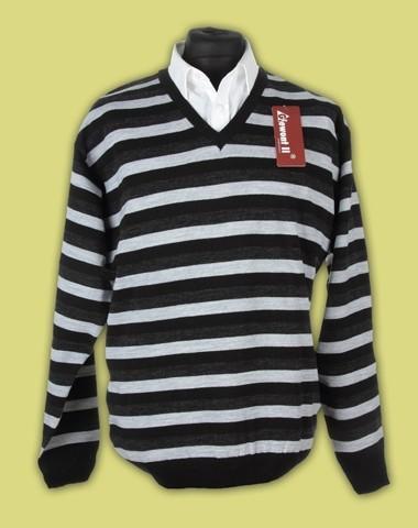sweter w serek paski